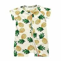 Kids Tales Summer Baby Boy Short Sleeve Pineapple Zippered  Romper