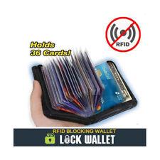 Lock Wallet Mens Slim RFID Blocking Zip 36 Credit Bank ID Business Card Holder