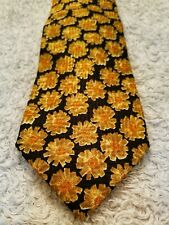 Ermenegildo Zegna Black Yellow Gold Sunflowers Silk Tie