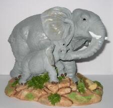 Elefant Deko Figur Dickhäuter Mutter Kind Aufstellfigur Handbemalt 17x14x12cm