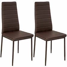 2 Modern Dining Chairs Dining Room Chair Table Faux Leather Furniture Cozy Brown