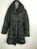 WOMENS SQUARE BLACK ZIP UP WINTER PADDED PUFFER COAT JACKET WITH HOOD SIZE UK 10