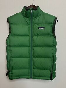 PATAGONIA Boys Down Filled Puffy Green Sleeveless Quilted Vest Size L 12