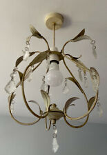 Mini Chandelier Ceiling Lampshade Leaf Motif And Crystals, Painted Brass