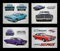 4 ART PRINTS POSTERS: DODGE CHARGER R/T 1971 1972 1973 1974 383 400 SIX-PACK 440