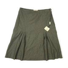 Burberry New Womens 4 S Green Olive Pleated Knee Skirt Wool Angora Blend