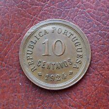Portugal 1924 bronze 10 centavos - part brockage