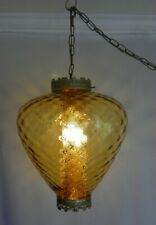 VINTAGE 60-70's HANGING SWAG LAMP, SWIRL AMBER GLASS SHADE W/ DIFFUSER, AWESOME