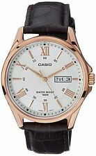 Casio MTP1384L-7A Men's Rose Tone Leather Band Day Date Roman White Dial