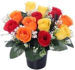Artificial Grave Crem Pot Memorial Flowers Roses Rosebuds Red Yellow Apricot