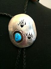 Vintage Sterling Bear Paw Turquoise Native American Bolo Tie Signed R