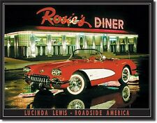 "Rosie'S Diner Drive In Hot Rods Corvette Beach Surfboard 16""X12.5"" Metal Sign"