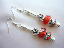 Red European Style Earrings with faceted crystal beads and rhinestone charms