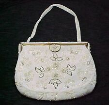 BAGS BY JOSEF, VINTAGE FLORAL BEADED EVENING BAG, PURSE