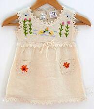 Baby Kleid, natur-weiß, Fische + Blumen, Gr. 62*68, 100% Baumwolle naturbelassen