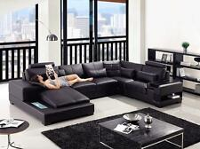 VIG Divani Casa Diamond Modern Black Bonded Leather Corner Sectional Sofa  Left