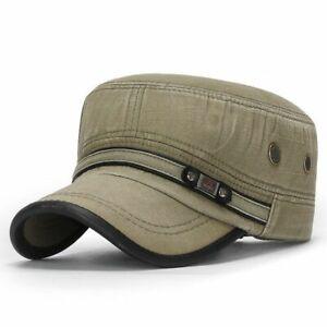 Flat Top Military Hat Cotton Army Fashion Cap Men Women Vintage Fashion Caps