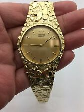 "New Round Seiko Quartz 10K Solid Yellow Gold 7.5"" Nugget Style Link Wrist Watch"