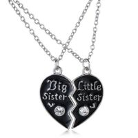 2PCS Black Big Litter Sister Crystal Heart Pendant Necklace Broken Heart Friend
