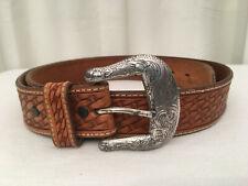 Tony Lama 1016L Vtg. Men's Brown Leather Basket Weave Style Leather Belt, Sz. 40