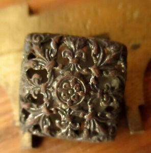 Antique Vtg 14mm  Ornate Square Metal Dress Jacket Shirt button Shank