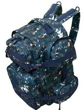 Navy Blue Digital Camouflage Backpack Large Molle 7 Compartments