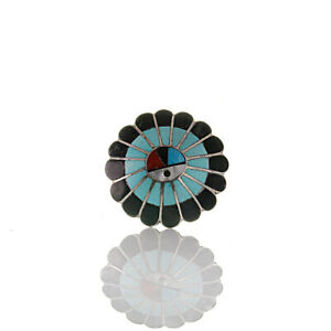 Zuni Native American Pendant Brooch Silver 925 Mosaic Gems Turquoise Onyx Coral