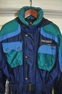 DESCENTE Men's Ski Snow Powder Blue Large Suit Snowsuit