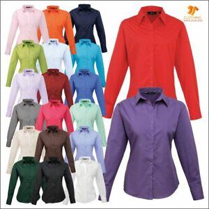 Premier Poplin Long Sleeve Womens Blouse Formal Business Work Staff Wear Shirt