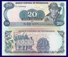 Nicaragua P152, 20 Cordoba, Demonstration for Agrarian reform, flowers, UNC