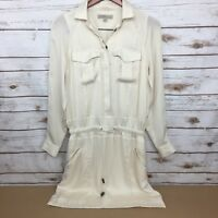Banana Republic Heritage Womens Size 0 Ivory Cargo Shirt Dress Pockets