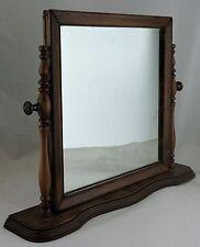 "Vintage Shaving Mirror Wood Frame Table Top Dresser Bureau Vanity Swivel 18"""