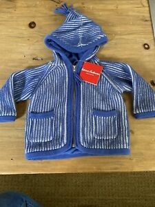 NWT Hanna Andersson 75 size 12-18 months sweater jacket hood blue