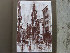 1950s HAMBURG RATHAUS Mid Century Charcoal Drawing EDMUND NACHTIGAL VTG GERMAN