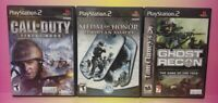 3 Game War Lot PS2 Playstation 2 Call of Duty Ghost Recon Medal Honor European
