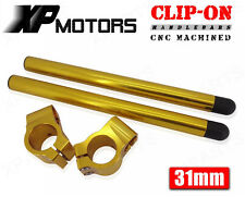 "31mm CNC Clip-On 7/8"" Handlebars Clip Ons Universal Fit 31mm Fork Tubes Gold"