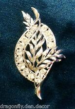 Vintage - Brooch Silver Tone Leaf with Rhinestone Border