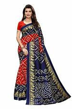 Indian Women's Blue Mysore Silk Printed Saree with Blouse Piece,Free Shipping