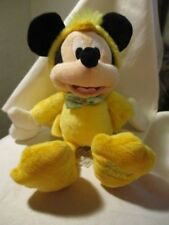 """DISNEY PARKS  Stuffed 11"""" Plush Mickey Mouse Yellow Chicken """"Happy Easter""""  2012"""
