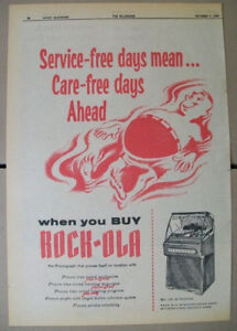 Rock-ola 200 50 and 120 Selections phonographs 1957 Ad- care free days ahead