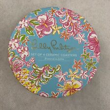 Lily Pulitzer Set of 4 Ceramic Coasters Featured in Lolita Pink Blue New in Box