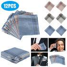 Mens Handkerchiefs 100% Cotton Classic Hankies 6/12PCS Hankerchief Pocket Random