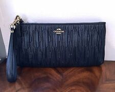 NWT Coach Madison Midnight Navy Gathered Leather Wallet Clutch Wristlet $248