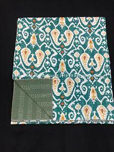 Indien Handmade Cotton Kantha Quilt Hippie Ikat Printed Queen Bedding Quilts