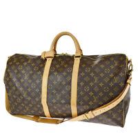 Auth LOUIS VUITTON KEEPALL 55 Hand Bag Bandouliere Monogram Brown M41414 93SB367