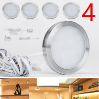 4X Under Cabinet Lighting LED Light Puck Bulb Kitchen Shelf Counter Power Supply