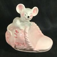 Vintage Ceramic Mouse on Slipper Coin Bank Pink WEISS