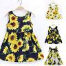 Toddler Baby Kids Girl Summer Sleeveless Sunflowers Skirt Princess Dress Clothes