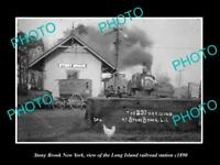 OLD LARGE HISTORIC PHOTO OF STONY BROOK NEW YORK, THE RAILROAD STATION c1890