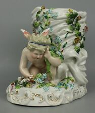 Antique 19C Sitzendorf figurine Vase with Cherub WorldWide